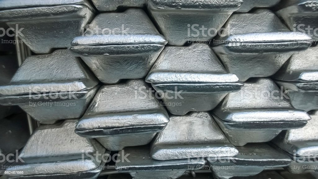 Aluminum ingots. Transportation of aluminum for export stock photo