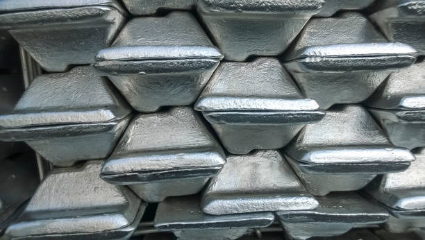 aluminum ingots. transportation of aluminum for export - aluminium stock photos and pictures