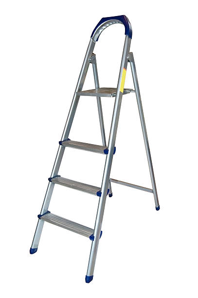 Aluminum ladder. stock photo