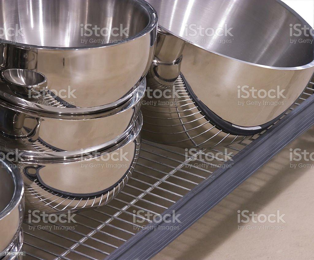 Aluminum mixing bowls royalty-free stock photo