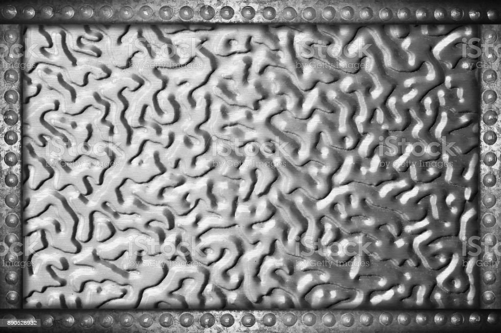 aluminum plate background with metal rivets frame stock photo