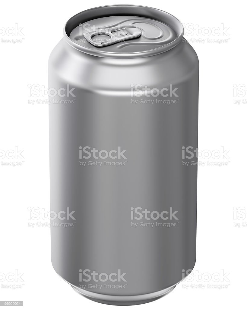 Aluminum pop top can without a over 3D computer illustration on white background Aluminum Stock Photo