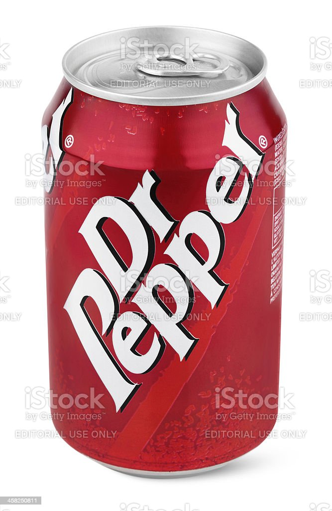 Aluminum red can of Dr Pepper stock photo