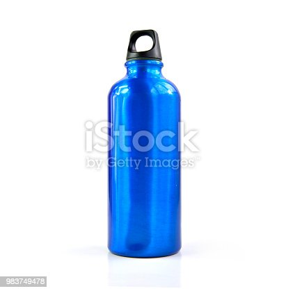 Aluminum reusable water bottle isolated on a white background, selective focus.