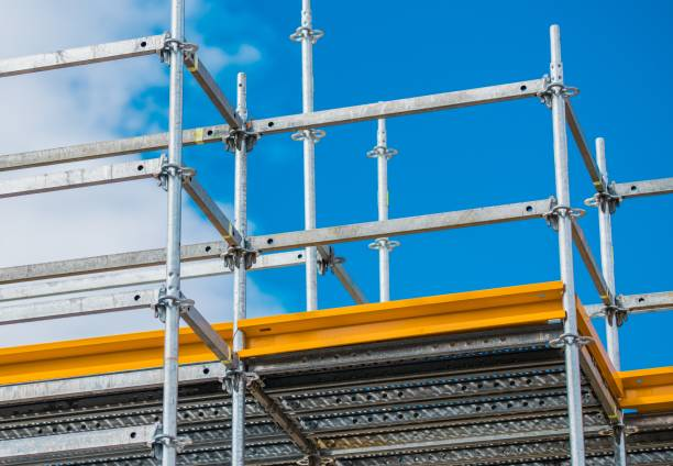 Aluminum Scaffolding Setup Aluminum Scaffolding Setup. Construction Equipment Closeup. scaffolding stock pictures, royalty-free photos & images