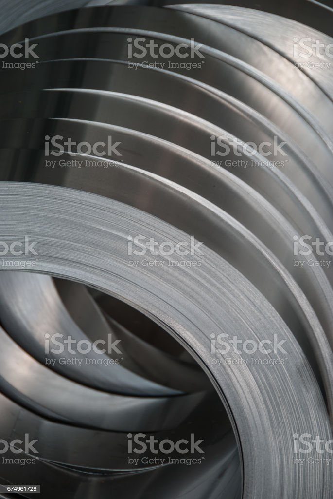 Aluminum sheet metal coils narrowed to size royalty-free stock photo