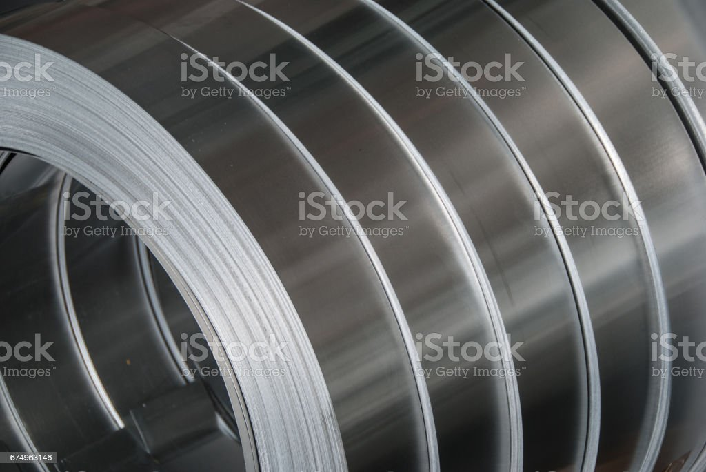 Aluminum sheet metal coils narrowed to size stock photo