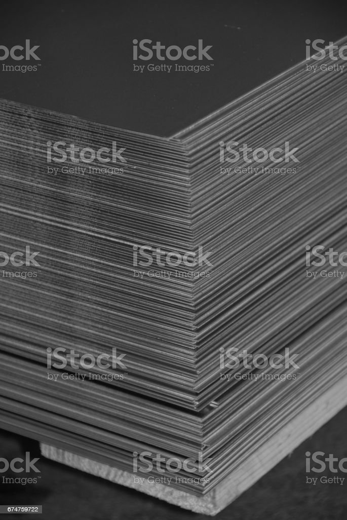 Aluminum sheet metal plates stacked stock photo