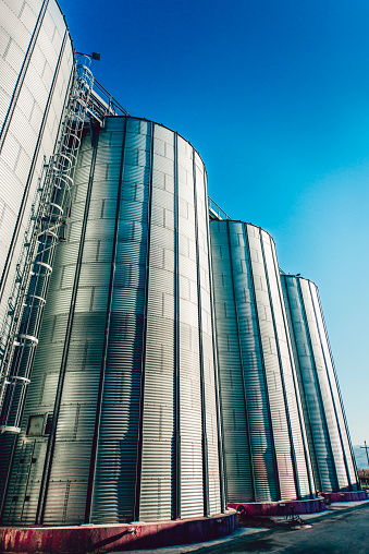 Aluminum Silos Towers In Construction Site