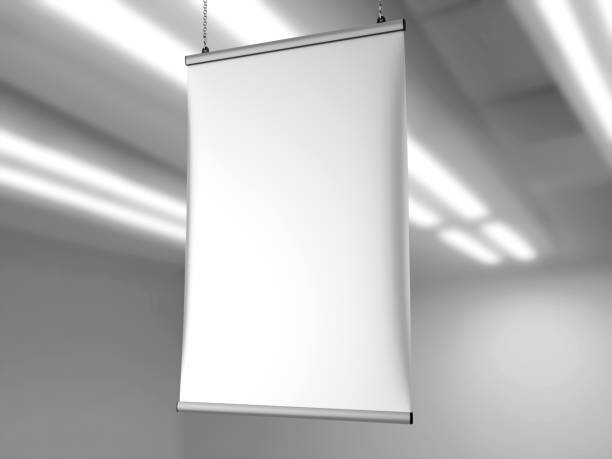 aluminum snap grip ceiling banner poster hanger,hanging poster rails poster hanger. 3d render illustration. - vinyl banner mockup stock photos and pictures