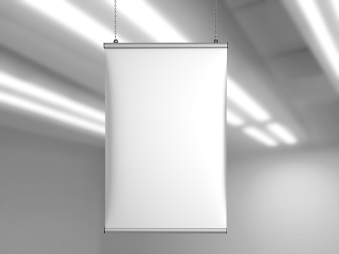 istock Aluminum snap grip Ceiling Banner poster hanger,Hanging Poster Rails Poster Hanger. 3d render illustration. 958659562