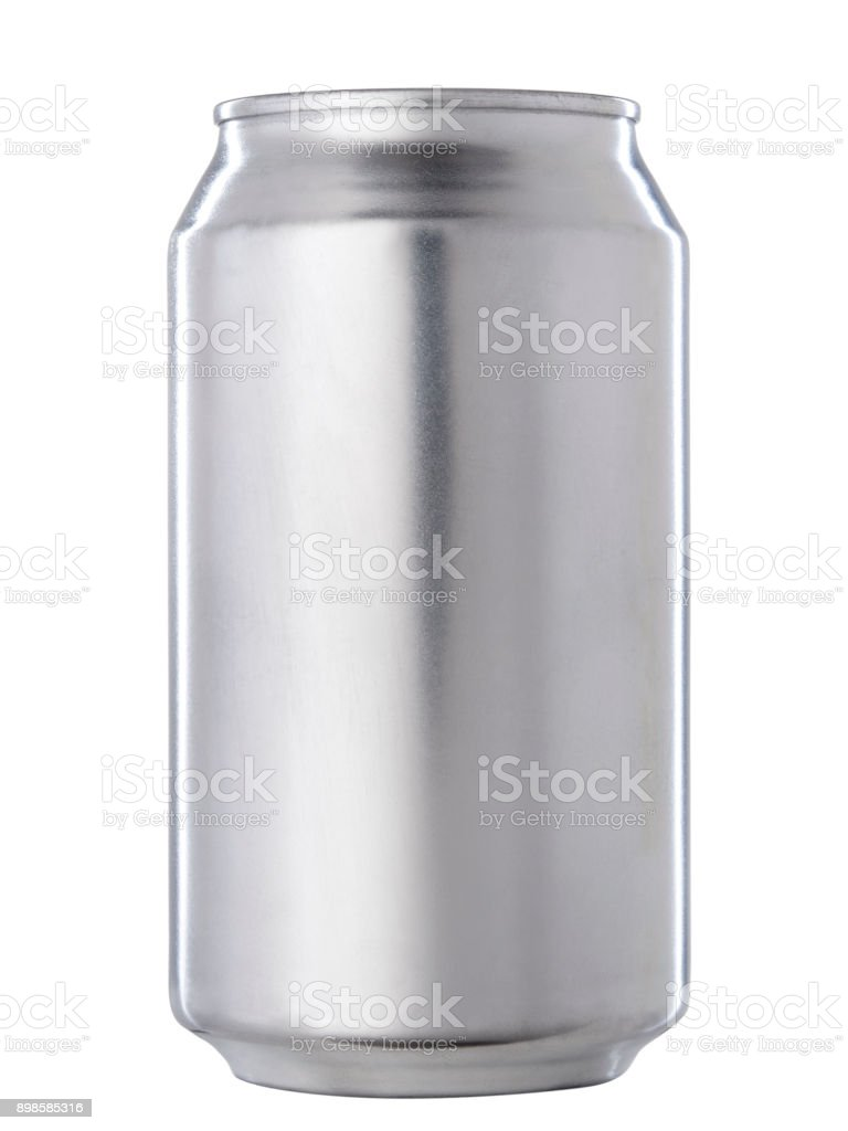 Aluminum Soda Can isolated on White Background stock photo