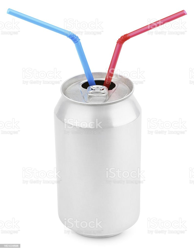 Aluminum soda can with straws on white royalty-free stock photo