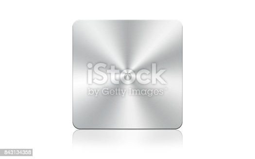 istock Aluminum square icon on white background,Clipping Path. 843134358