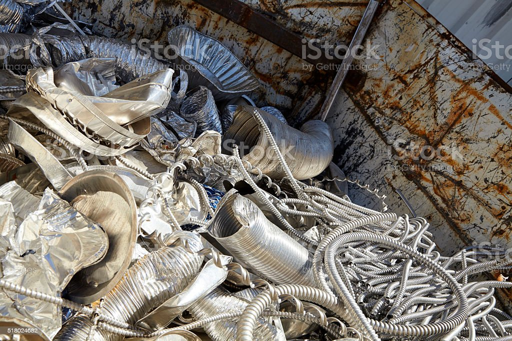 Aluminum steel scrap metal trash for recycling stock photo