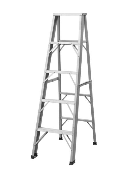 Aluminum stepladder foldable stock photo