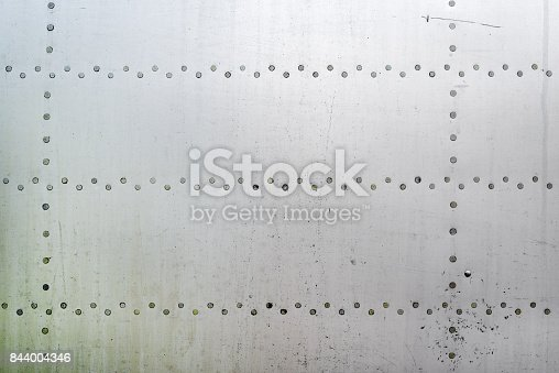 istock Aluminum surface of the aircraft fuselage 844004346