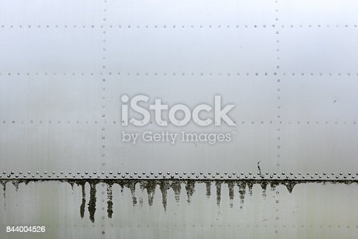 istock Aluminum surface of the aircraft fuselage 844004526