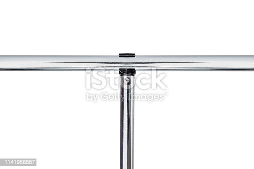 Reflective Glossy Aluminum T Shaped Bar on white background