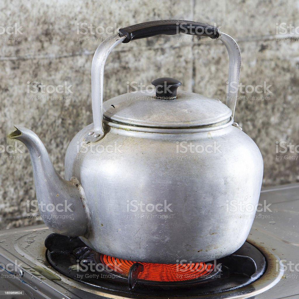 Aluminum tea kettle royalty-free stock photo