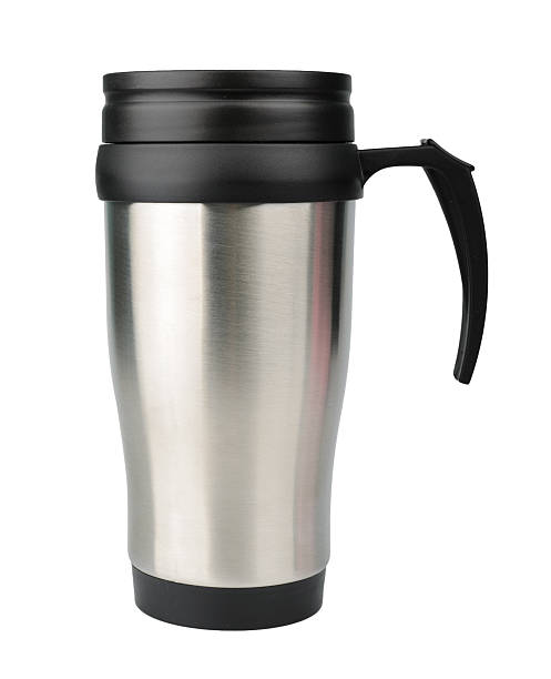 aluminum thermos mug isolated on white - flask stock photos and pictures