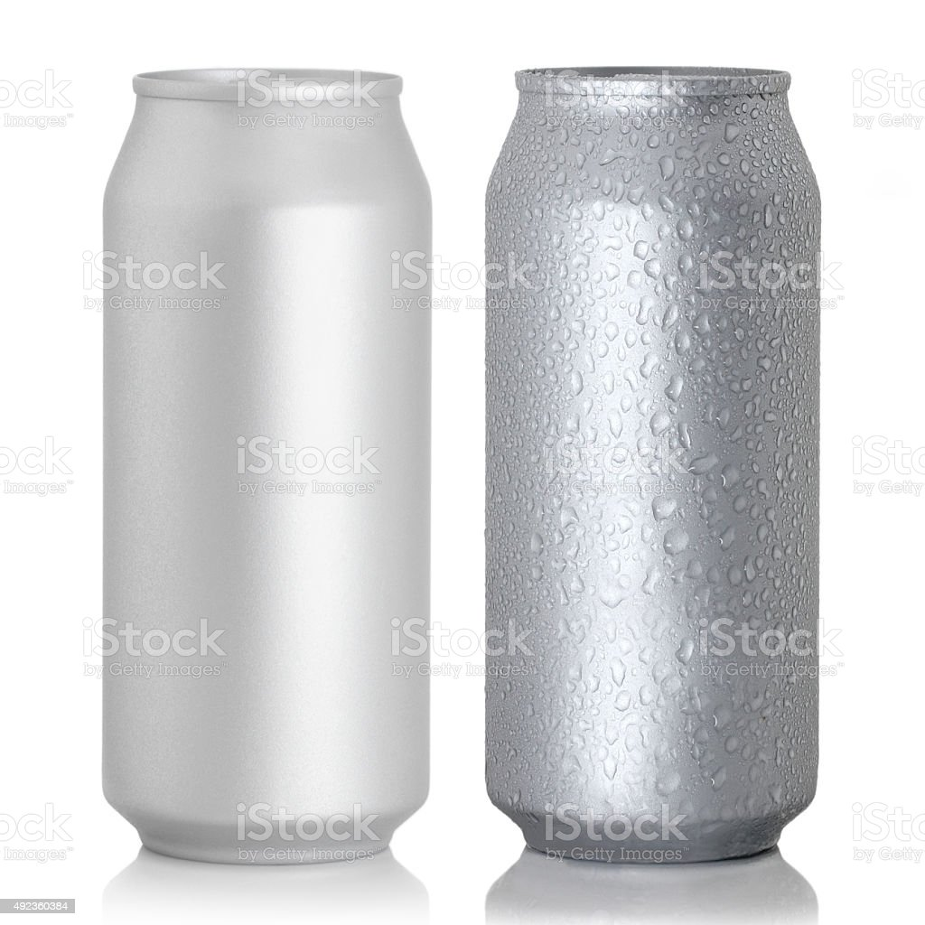 Aluminum thin cans stock photo