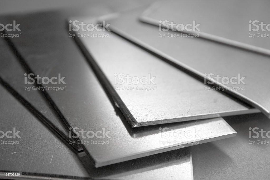 Aluminum thin rectangular plates stock photo