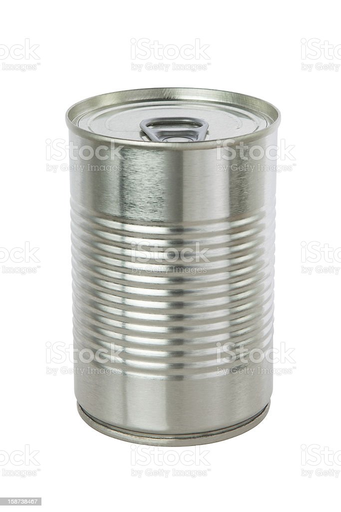 Aluminum tin can on a white background. royalty-free stock photo