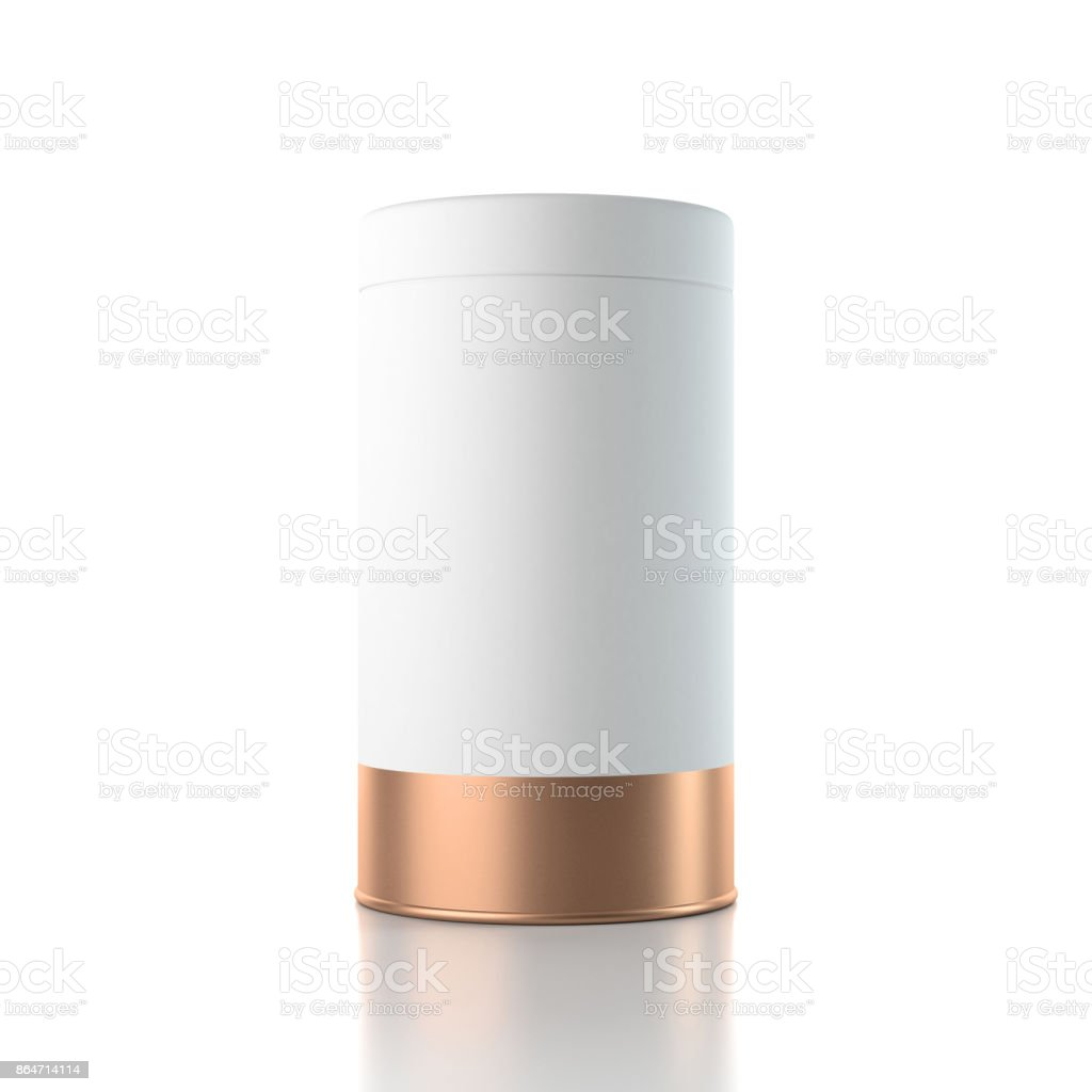 Aluminum Tin can packaging Mockup for Tea, coffee, dry products, gift box stock photo