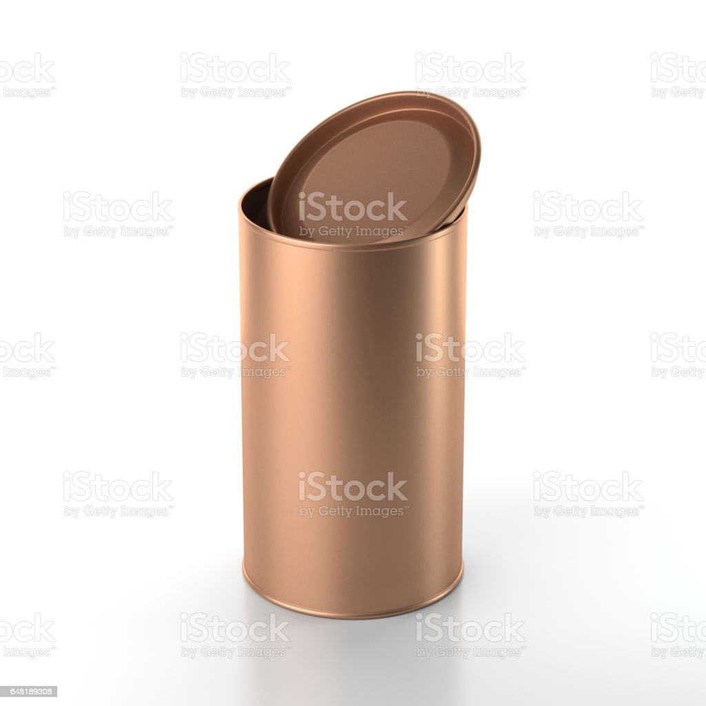 Foto De Lata De Alumínio Com Tampa Aberta Embalagem Em Lata Para Chá