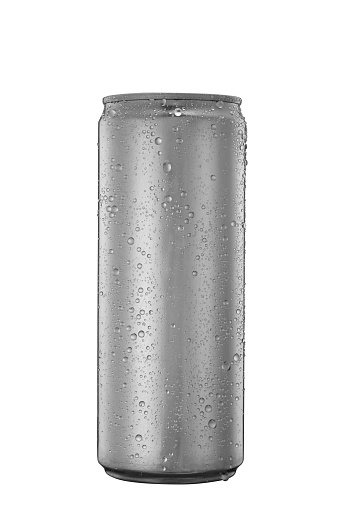 istock Aluminum tin can with water drops isolated on white 932627142