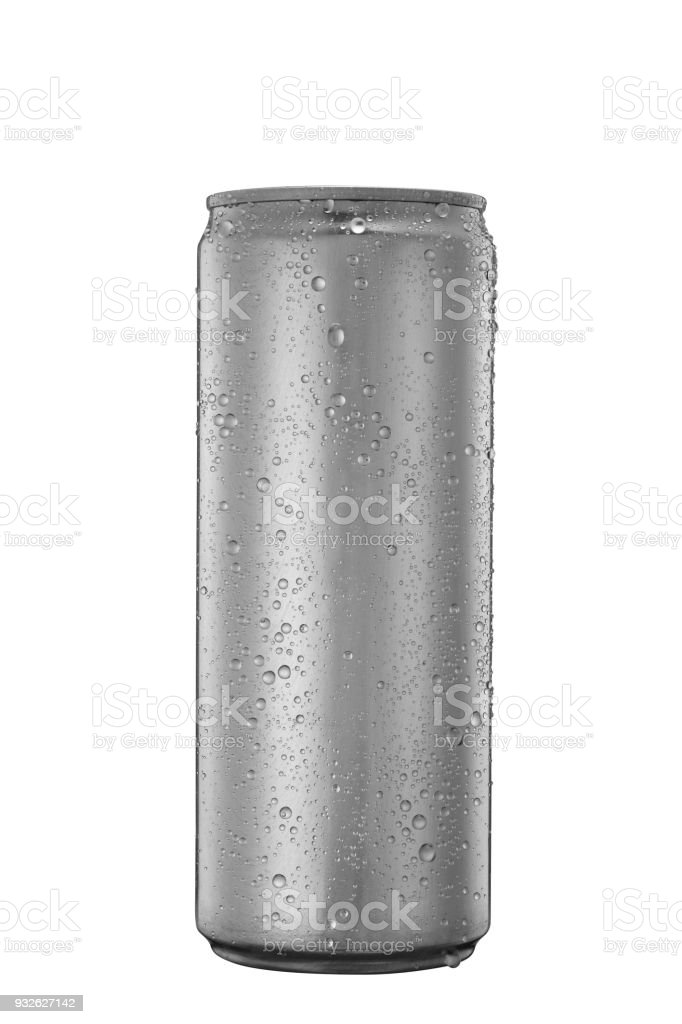 Aluminum tin can with water drops isolated on white stock photo