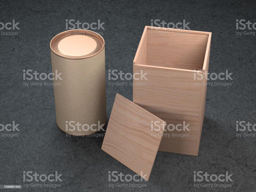 Foto De Lata De Alumínio Com Maquete De Caixa De Madeira Embalagem