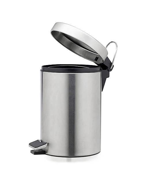 aluminum trash can isolated - bin stock pictures, royalty-free photos & images