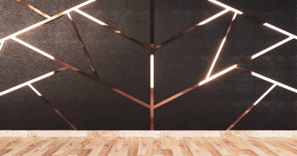 aluminium-trimm gold auf schwarzem wanddesign und holzboden.3d rednering - dachschräge einrichten stock-fotos und bilder