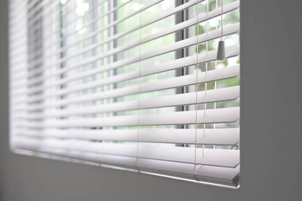 Aluminum venetian window blinds stock photo