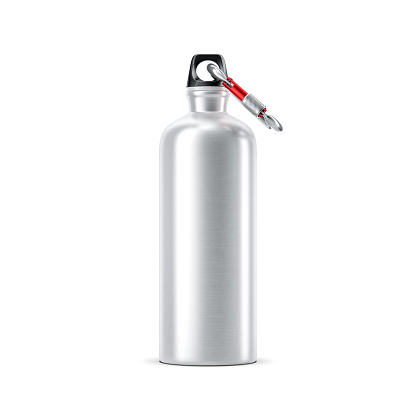 istock Aluminum water sport Bottle Mockup with carabiner standing on white 911033442