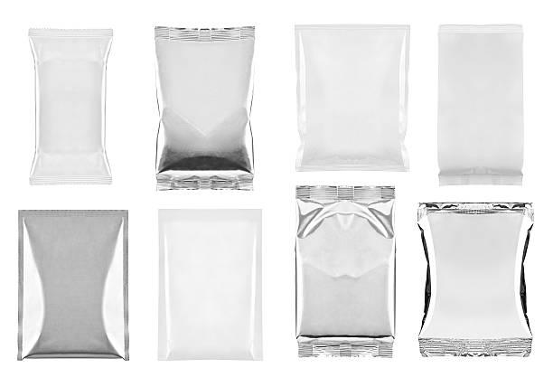 aluminum white bag package food template - aluminiumkiste stock-fotos und bilder