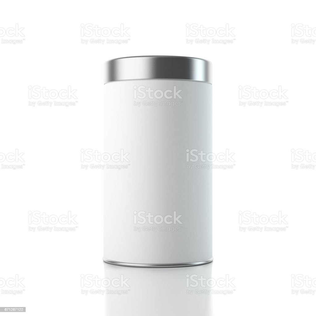 Aluminum white Tin Can Box packaging Mockup with metal cap stock photo