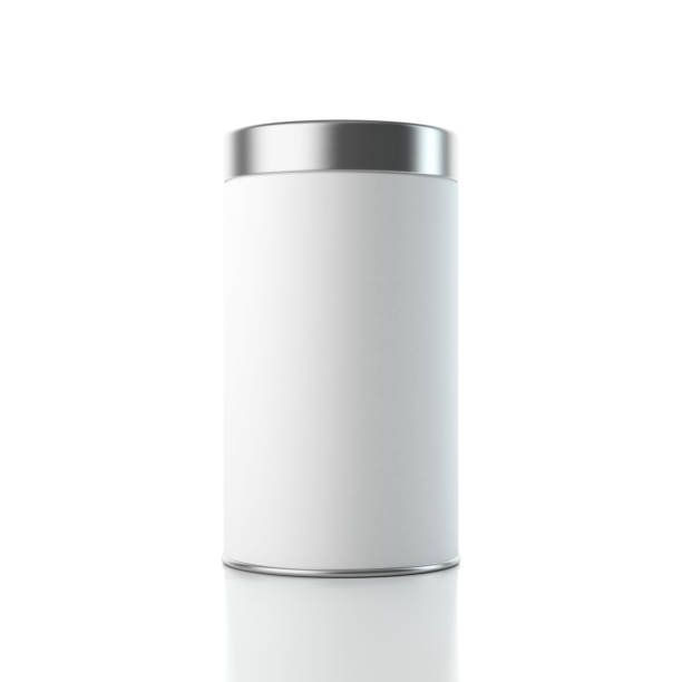 weiße blechdose box aluminiumverpackungen mockup mit metallkappe - aluminiumkiste stock-fotos und bilder