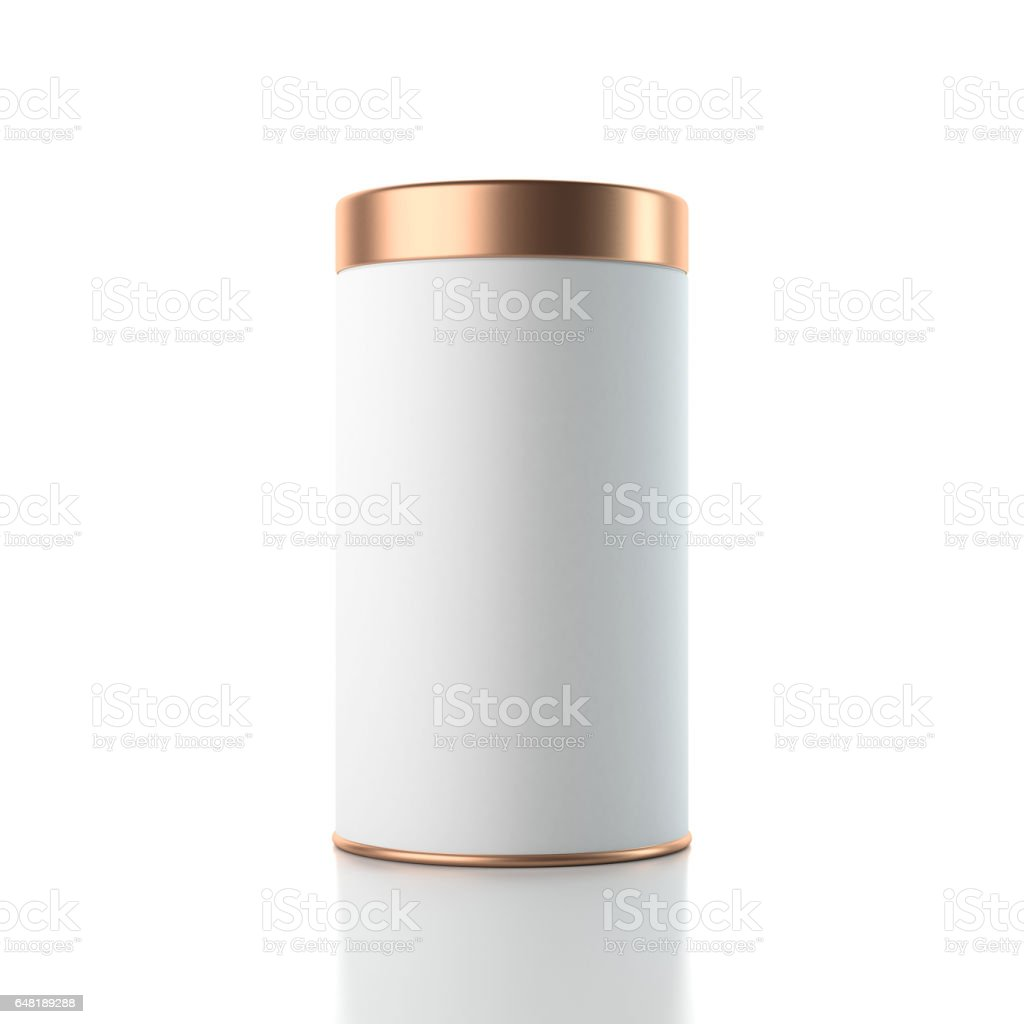 Aluminum white Tin can packaging Mockup with golden lid, 3d rendering stock photo