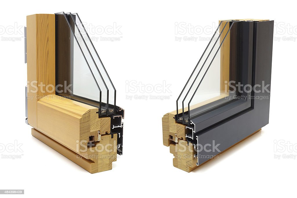 aluminum window with wooden wrap sample stock photo