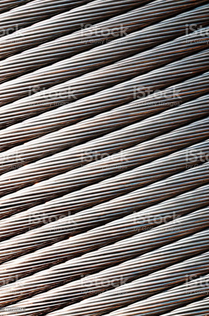 Aluminum wire reel (coil) for high-voltage power transmission line stock photo