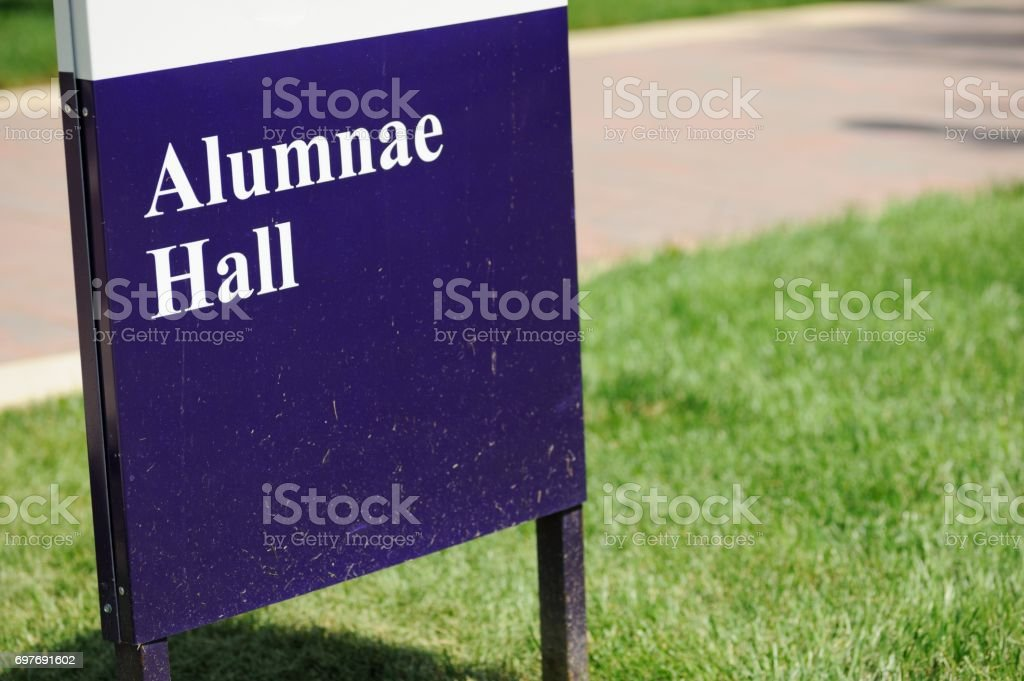 Alumnae Hall sign stock photo