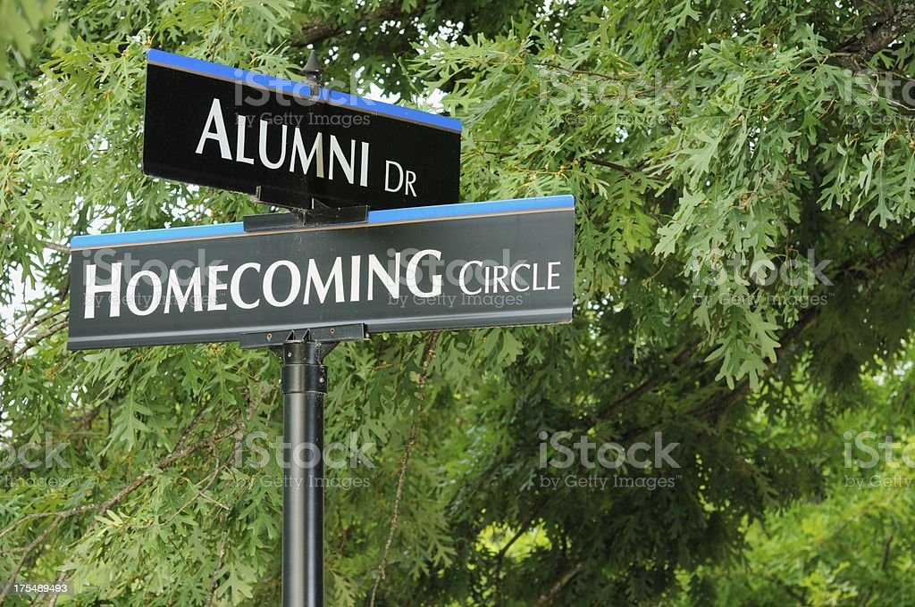 Alumni and homecoming signs stock photo