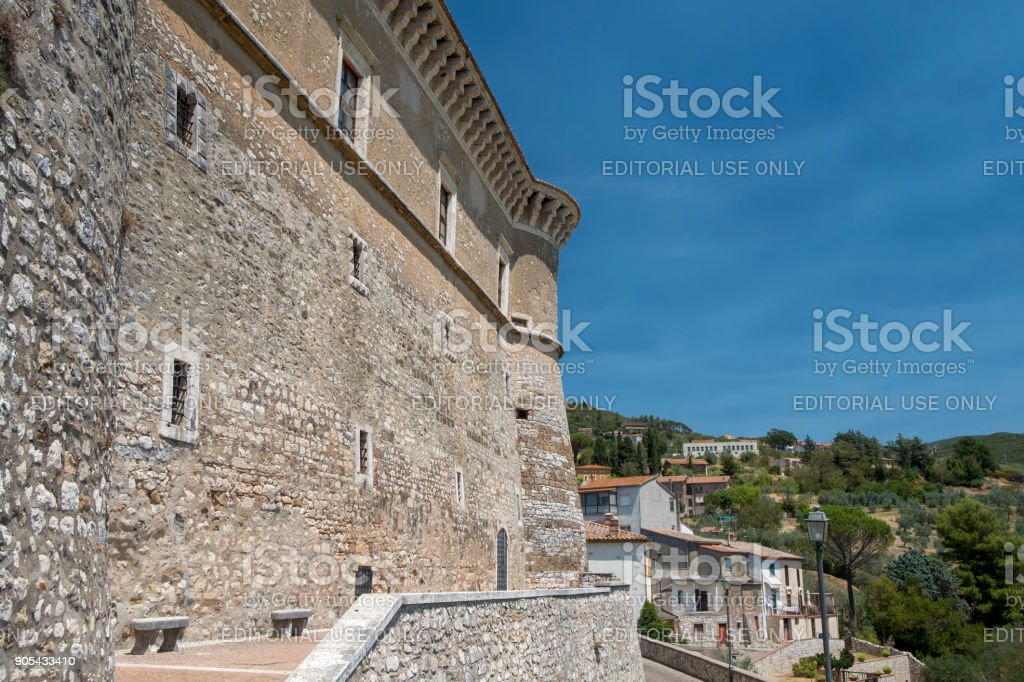 Alviano (Umbria, Italy), the medieval castle stock photo