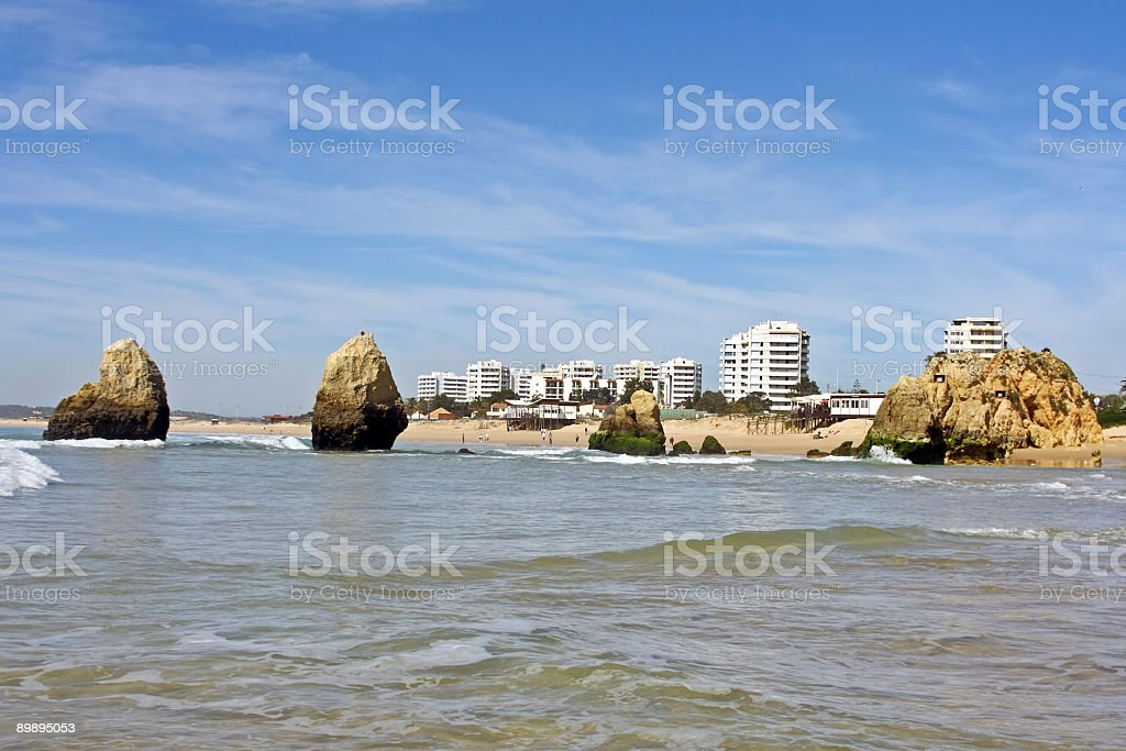 Alvor with the atlantic ocean and rocks in Portugal royalty-free stock photo
