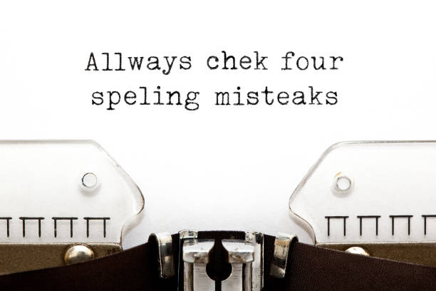 Always Check For Spelling Mistakes Typewriter Concept Text with errors Always Check For Spelling Mistakes typed on vintage typewriter with copy space. spelling stock pictures, royalty-free photos & images