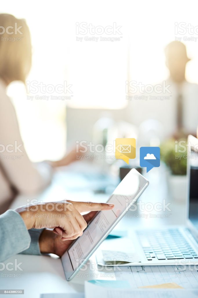 Always connected means always productive stock photo