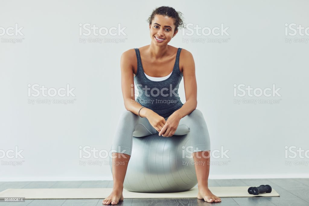 I always feel less stressed after a workout stock photo